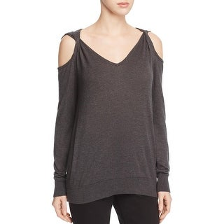 Elan Womens V-Neck Sweater Off-The-Shoulder V-Neck