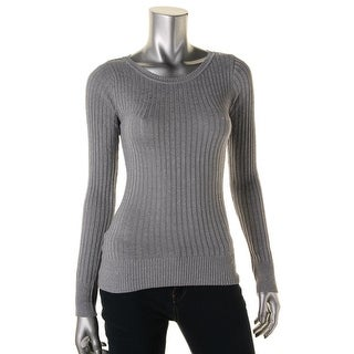 Energie Womens Juniors Pullover Sweater Metallic Ribbed Knit