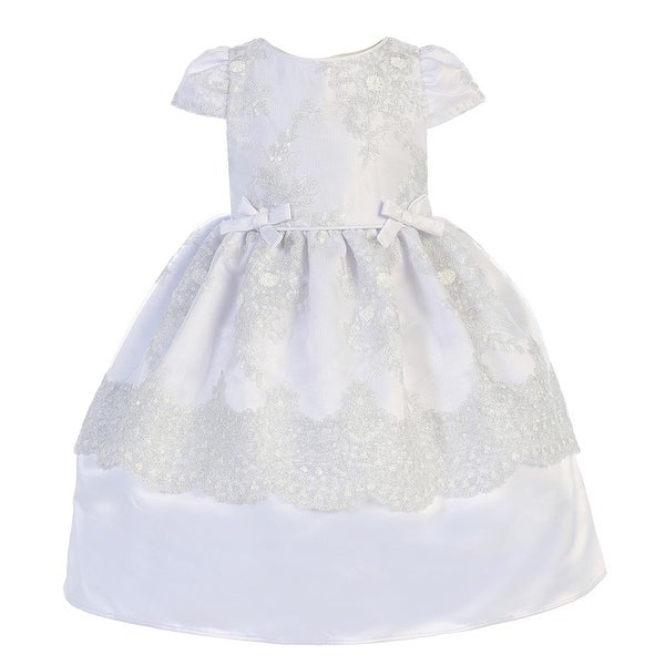 Angels Garment Little Girls White Satin Mesh Baptism Flower Girl Dress