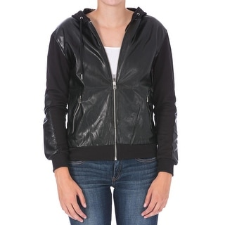 Dex Womens Faux Leather Hooded Jacket