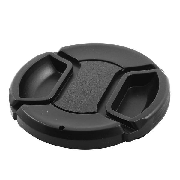 Plastic Snap Digital Camera Clip-on 58mm Center Pinch Front Lens Cap Cover Black