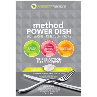 Method 01759 Power Dish Dishwasher Detergent Packs, Lemon Mint, 20-Count