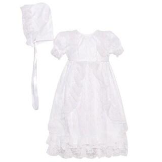 The Children's Hour Baby Girls White Lace Christening Bonnet Dress