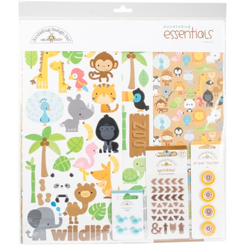 """Doodlebug Essentials Page Kit 12""""X12""""-At The Zoo"""
