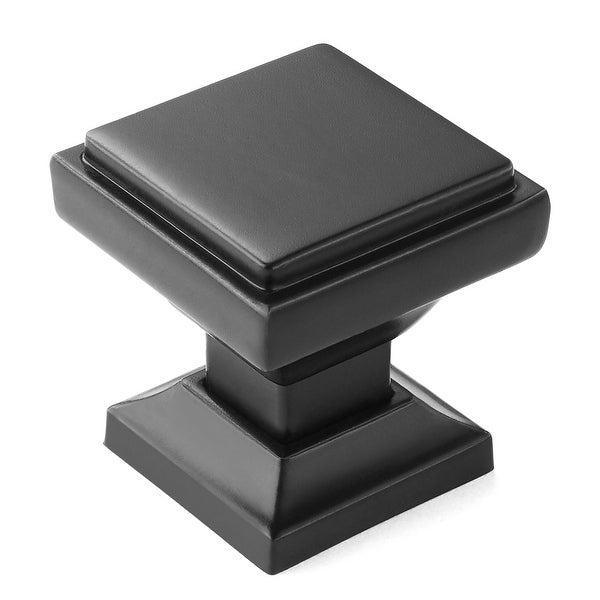 "Solid Square 1-1/8"" Matte Black Kitchen Cabinet Knobs Pulls"
