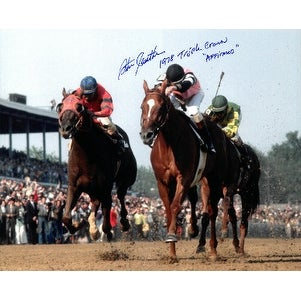 Steve Cauthen signed Kentucky Derby Horse Racing 16X20 Photo dual 1978  Triple Crown Affirmed