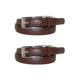 CTM® Women's Leather 3/4 Inch Skinny Dress Belt (Pack of 2)