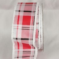"Modern Plaid Red and White Fuzzy Wired Edge Craft Ribbon 2.5"" x 20 yards"