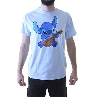 Disney Stich playing the Guitar Men's Blue T-shirt