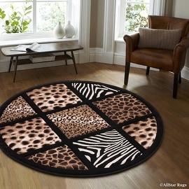 "Allstar Black Dots Square Animal Prints Design Modern Geometric Round Area Rug (5' 5"" x 5' 5"")"