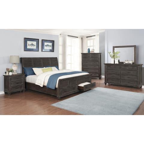 Minton Weathered Carbon 4-piece Storage Queen Bedroom Set