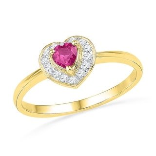 10kt Yellow Gold Womens Round Lab-Created Pink Sapphire Heart Love Fashion Ring 1/10 Cttw - White