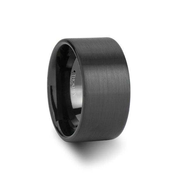 THORSTEN - BALTIMORE Flat Style Black Tungsten Carbide Ring with Brushed Finish - 12 mm