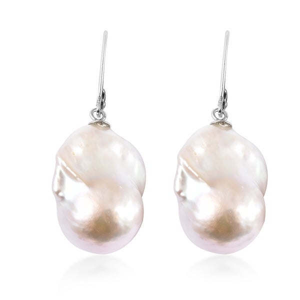 925 Sterling silver Fresh Water Pearl Dangle Earrings Rhodium Over. Opens flyout.
