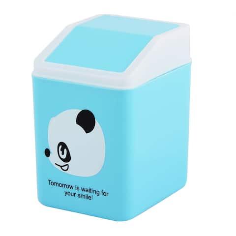 Home Bedroom Plastic Panda Pattern Seedcase Rubbish Waste Garbage Bin Can Blue