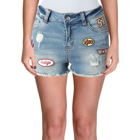 Kensie Womens Denim Shorts Patches Distressed
