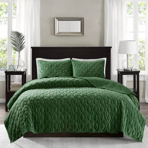 Madison Park Emery Faux Velvet Reversible 3 Piece Coverlet Set