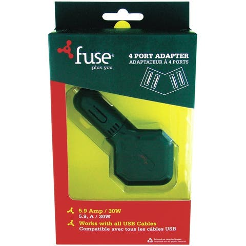 Fuse 06739 4-Port Car Cell Phone Charger, 5.9 Amps