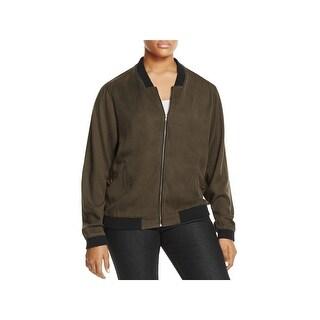 Alison Andrews Womens Plus Bomber Jacket Contrast Trim Zip Front