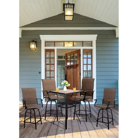 PHI VILLA 5-Piece All-Weather Swivel Outdoor Dining Set with 4 bar stools