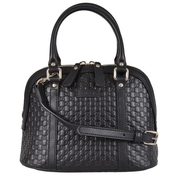 53b35042249b Shop Gucci 449654 Micro GG Black Leather Convertible Mini Dome Purse ...