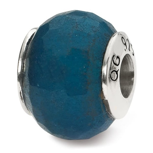 Sterling Silver Reflections Medium Blue Quartz Stone Bead (4mm Diameter Hole)