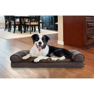 FurHaven Pet Bed | Faux Fleece & Chenille Soft Woven Pillow Sofa Dog Bed