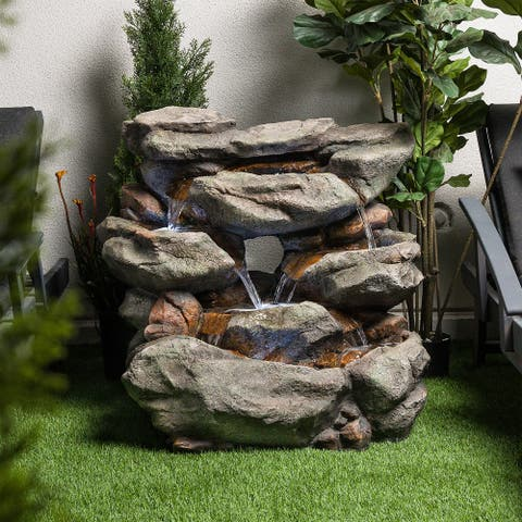 """Alpine Corporation 31"""" Tall Outdoor 6-Tier Rainforest Waterfall Fountain with LED Lights"""
