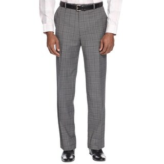 ALFANI Slim Fit Mens Stretch Gray Glen Plaid Dress Pants 30 x 30 Flat Front $135