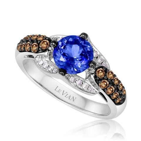 Encore by Le Vian Tanzanite & Chocolate Diamond 14K White Gold Ring Size 7