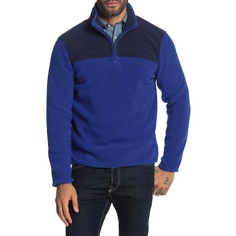 Brooks Brothers Mens Colorblock Quarter Zip Polar Fleece Pullover S Blue/Navy