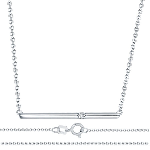 Prism Jewel G-H/SI1 Single Natural Diamond Bar Necklace,925 Sterling Silver