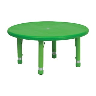 Offex 33'' Round Height Adjustable Green Plastic Activity Table