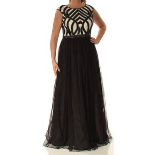 AIDANMATTOX $220 Womens New 1450 Black Beaded Fit + Flare Dress 12 B+B