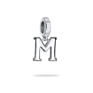 Bling Jewelry 925 Sterling Silver Alphabet Block Letter M Dangle Bead