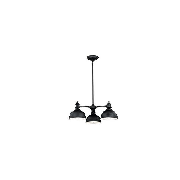 Vaxcel Lighting H0169 Keenan 3-Light Single Tier Chandelier with Black Metal Shades - Oil Rubbed bronze