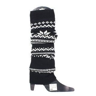 Christmas Reindeer Print Winter Knitted Leg Warmers Boot Cover Socks - Black/White
