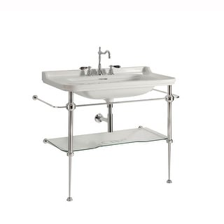 "WS Bath Collections Waldorf 4141K1+9197K1  Waldorf Ceramic White 31-1/2"" Console Bathroom Sink with Overflow and Metal Support"