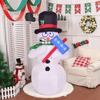 Costway 6' Indoor/Outdoor Shivering Snowman Christmas Holiday Decoration Setting - White