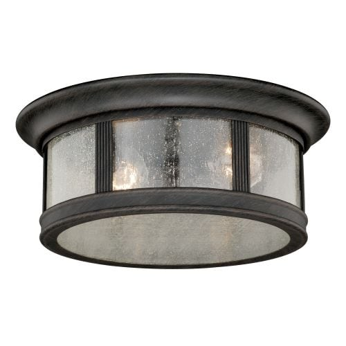 Vaxcel Lighting T0155 Hanover 2 Light Flush Mount Outdoor Ceiling Fixture with Clear Seeded Glass Shade - 12 Inches Wide