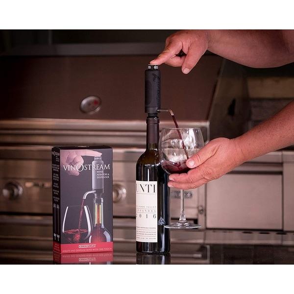 "Cork Pops Vinostream 2-in-1 Wine Aerator & Dispenser, 9"". Opens flyout."