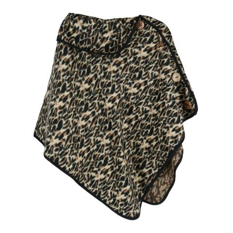 CTM® Women's Leopard Print Poncho - one size