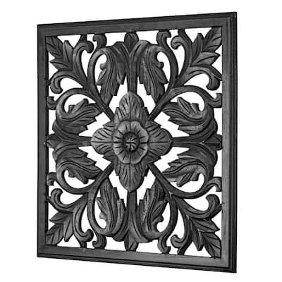 "American Art Decor Square Arabesque Wall Medallion - Black (24"") - 24x24"