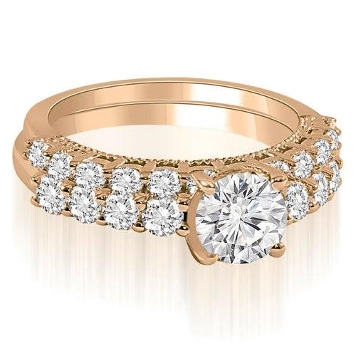 2.20 cttw. 14K Rose Gold Antique Milgrain Round Cut Diamond Bridal Set