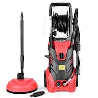 Costway 3000PSI Electric High Pressure Washer Machine 2 GPM 2000W w/ Deck Patio Cleaner - Red and Black