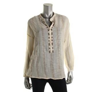 Zara Trafaluc Womens Metallic Embroidered Blouse