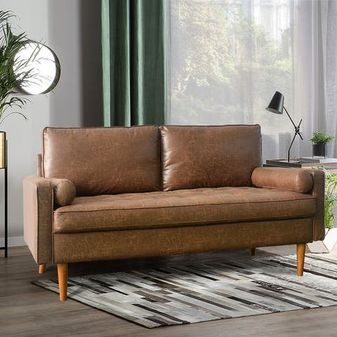 VIATOL Mid-Century Top-Grain SUEDE Leather Deep Seat Sofa With Cushions Wood Legs