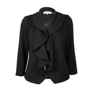 Calvin Klein Women's Ruffle Collar Solid Blazer