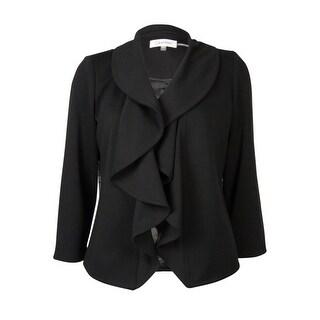 Calvin Klein Women's Ruffle Collar Solid Blazer - Black