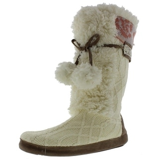 Muk Luks Womens Jewel Faux Fur Knit Bootie Slippers